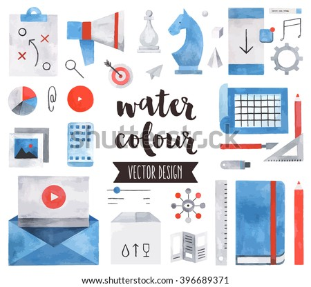 Premium quality watercolor icons set of business strategy concept, marketing tools. Hand drawn realistic vector decoration with text lettering. Flat lay watercolor objects isolated on white background - stock vector