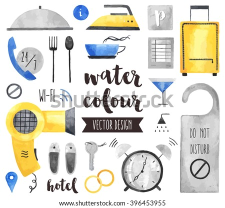 Premium quality watercolor icons set of hotel services, apartments room suit key. Hand drawn realistic vector decoration with text lettering. Flat lay watercolor objects isolated on white background. - stock vector