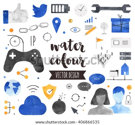 Premium quality watercolor icons set of people connection, social gaming community. Hand drawn realistic vector decoration with text lettering. Flat lay watercolor objects isolated on white background - stock vector