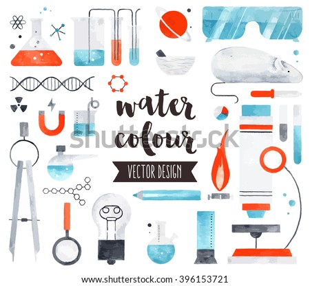Premium quality watercolor icons set of science laboratory research, lab test tubes. Hand drawn realistic vector decoration, text lettering. Flat lay watercolor objects isolated on white background. - stock vector
