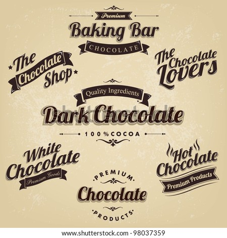 Premium Retro Chocolate Vintage And Label Set - stock vector