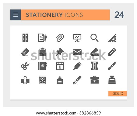 Premium Stationery Solid Vector icon set - stock vector