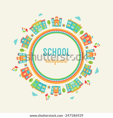 Preschool and School Education Background. Round Sign Made of School Buildings - stock vector
