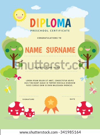 preschool elementary school kids diploma certificate stock vector  preschool elementary school kids diploma certificate sun and nature