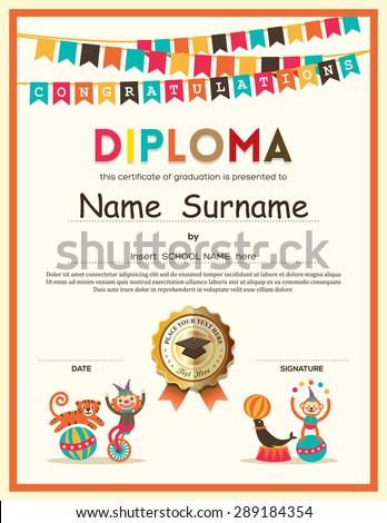 Preschool elementary school kids diploma certificate stock vector preschool elementary school kids diploma certificate template with bunting flags background design yadclub Choice Image