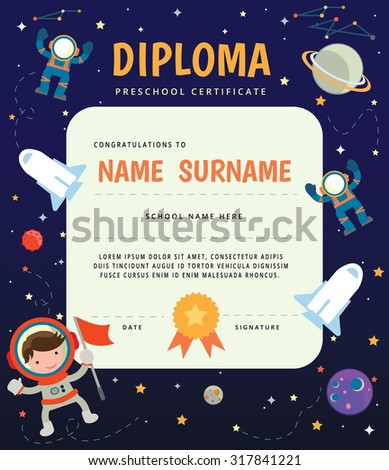Preschool Elementary school Kids Diploma certificate,The universe kids Theme, Solar system, Planets comparison, Sun and Moon , Galaxies Classification,Kids space learning,Full vector, pluto planet - stock vector