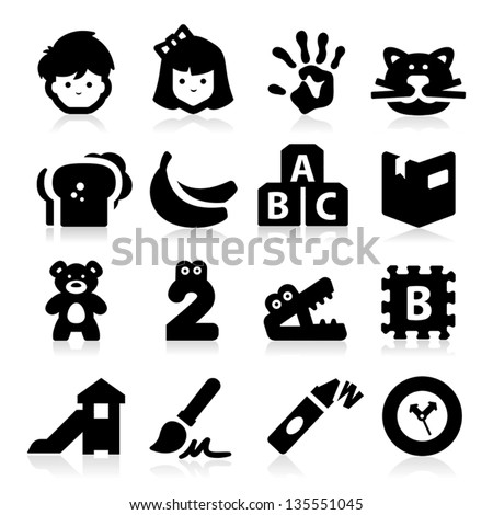 Preschool Icons - stock vector