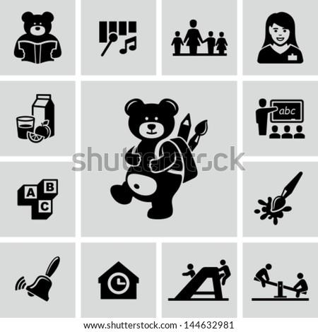Preschool icons - stock vector