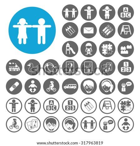 Preschool icons set. Illustration EPS10 - stock vector