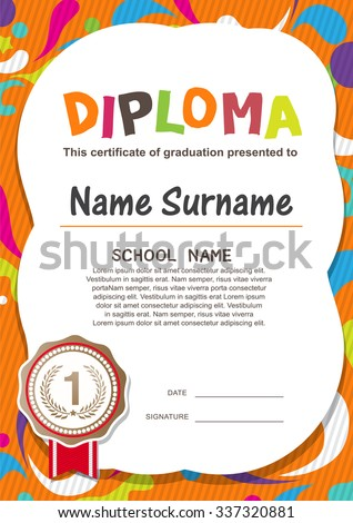 Preschool Kids Diploma certificate background design template - stock vector