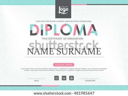 preschool kids diploma certificate background design stock vector  preschool kids diploma certificate background design template