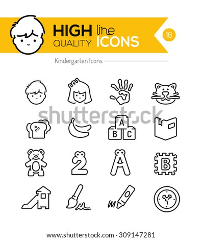 Preschool Line Icons Series - stock vector