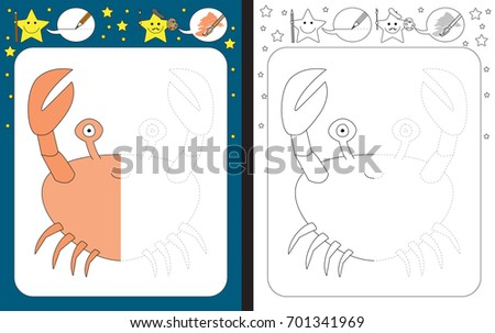 Preschool worksheet for practicing fine motor skills - tracing dashed lines - finish the illustration of crab