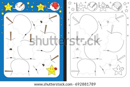 Preschool worksheet for practicing fine motor skills - tracing dashed lines of bites on apples