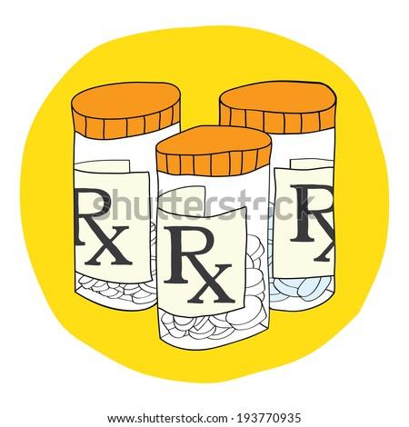 Prescription Drugs & Pill Bottle - stock vector
