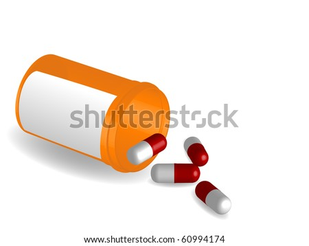 Prescription pill bottle with blank label and pills - stock vector