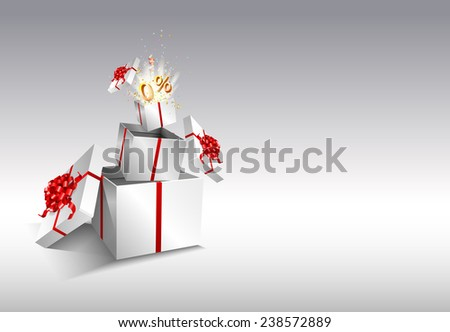 Present box inside present box. Open gift with fireworks from confetti. Border design. Background for promotions and offers. Zero percent. Festive action. - stock vector