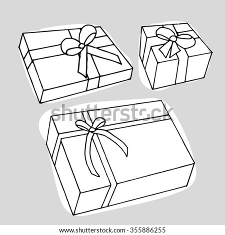 Present box on grey background. Hand drawn. Vector illustration.