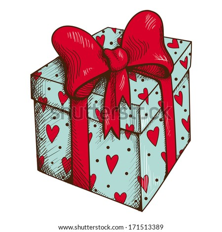 Present box with hearts and bow isolated on white. Sketch vector element for romantic design - stock vector