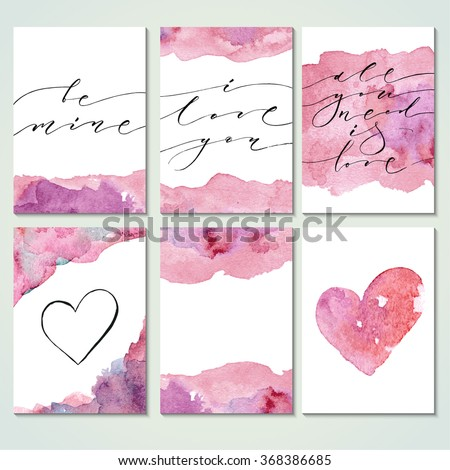 Present card templates with modern calligraphy and watercolor texture. Brush painted letters, vector illustration. Valentine's day design. - stock vector