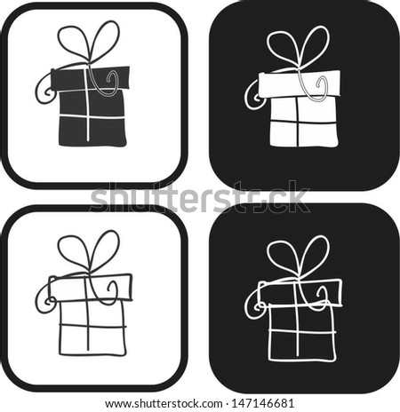 Present, gift icon - stock vector