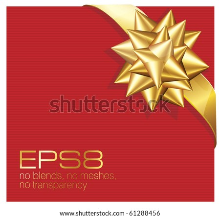 Present with gold ribbon bow. Vector. - stock vector
