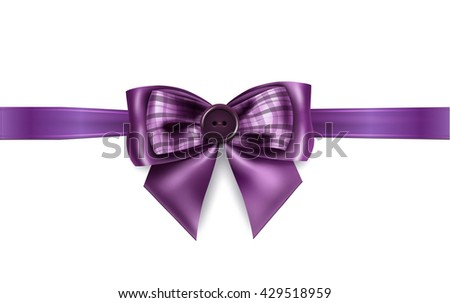 Present wrapped with purple ribbon with beautiful bow on it. Vector illustration - stock vector