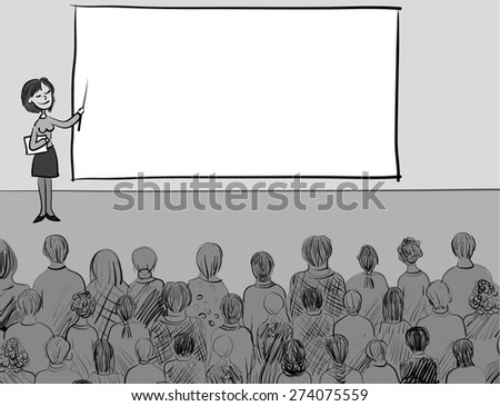 Presentation - a girl with a pointer near the board and the silhouette of a group of people listeners. Or lecturer and students. Vector background illustration