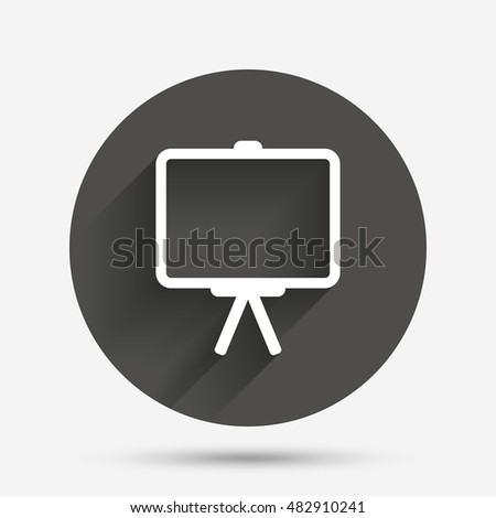 Presentation billboard sign icon. Clean board symbol. Circle flat button with shadow. Vector