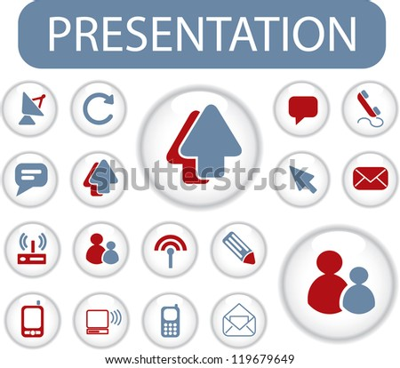 presentation buttons, signs, icons set, vector - stock vector