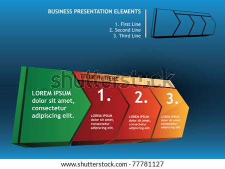 presentation diagram arrow elements with text - stock vector