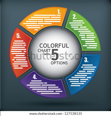 Presentation diagram template with five options and a sphere in the middle for title - stock vector
