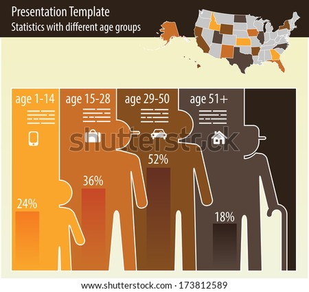 Presentation for different age groups and a map of united states of america - stock vector