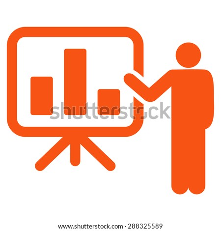 Presentation icon from Business Bicolor Set. Vector style: flat symbols, orange color, rounded angles, white background. - stock vector