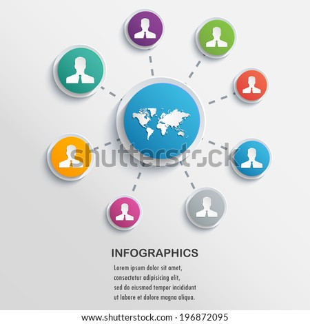 Presentation Infographics elements network with circles. Vector format. - stock vector