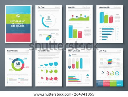 Presentation infographics for creative business design. Big set of modern infographic vector elements for web, print, magazine, flyer, brochure, media, marketing and advertising concepts. - stock vector