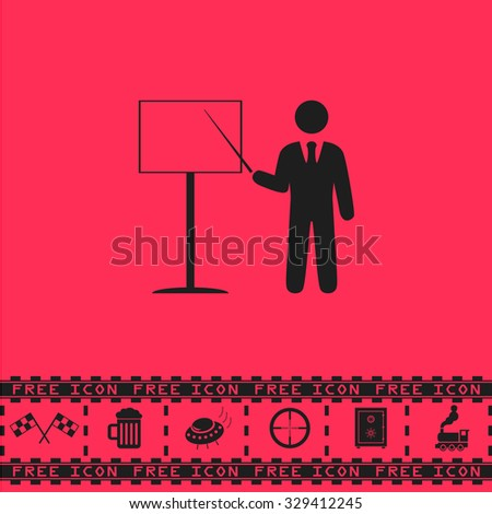 Presentation. Man standing with pointer. Black flat vector icon and bonus symbol - Racing flag, Beer mug, Ufo fly, Sniper sight, Safe, Train on pink background - stock vector