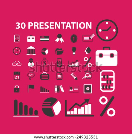 presentation, marketing, infographics, icons, signs, illustrations set, vector - stock vector
