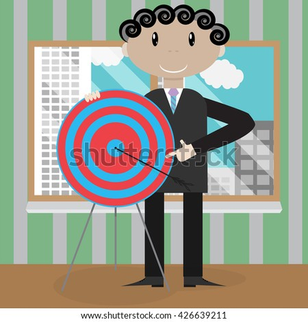 Presentation new strategic success right in the bullseye. Strategy success and goal target business. Vector illustration - stock vector