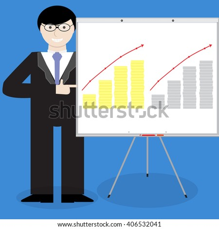 Presentation of financial report gold silver money. Financial and  report, finance and annual report, financial planning and growth business graphic. Vector flat design illustration
