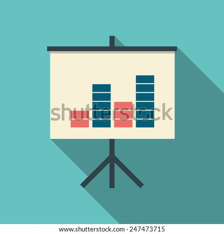 presentation on flip chart with graphs in modern flat design. Simple style cartoon for presentations. Eps10 vector illustration. - stock vector