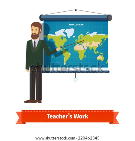 Presentation on map. Teacher or lector showing the map with pointer. Flat illustration. EPS 10 vector. - stock vector