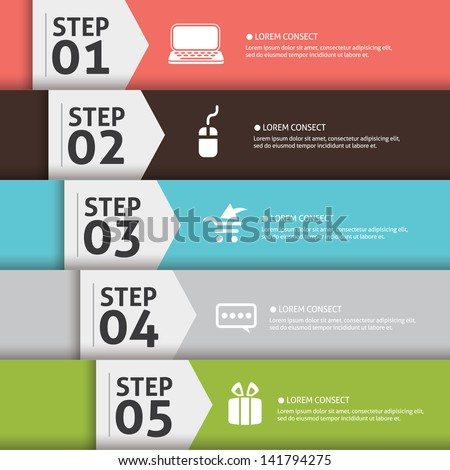 Presentation slide template editable at your choosing with your words EPS10. Numbered background 1, 2, 3, 4 , 5 , one two three four five. Business Concept with icon - stock vector