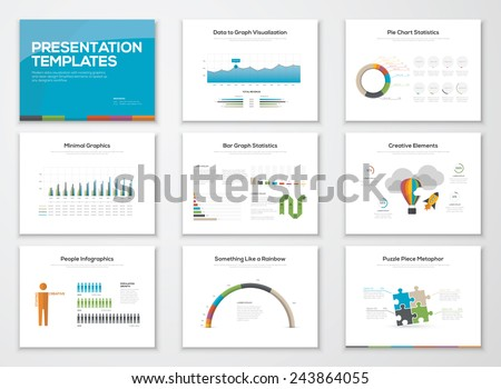 Presentation slide templates and business vector brochures. Big set of modern infographic vector elements for web, print, magazine, flyer, brochure, media, marketing and advertising concepts. - stock vector