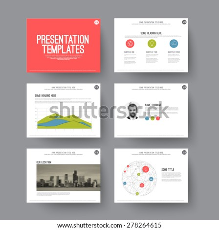 Presentation template - various slides and layouts with graphs and charts. Modern flat design - stock vector