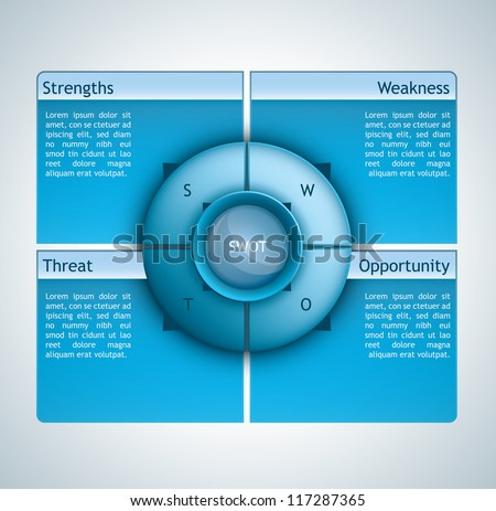 Presentation template with four options and a spherical element in the middle - stock vector