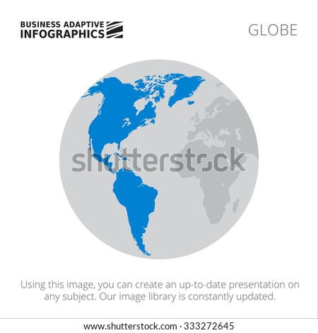 Presentation template with map of North and South America on Earth globe - stock vector