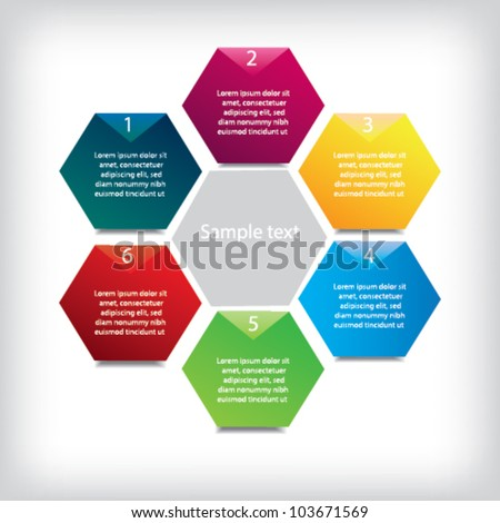 Presentation template with six Colored  text box - stock vector