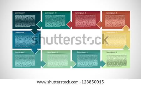 Presentation with ten text box - stock vector