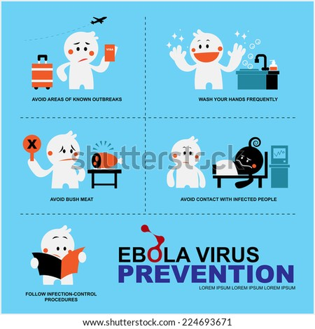 presenter cute character with EBOLA virus prevention  - stock vector